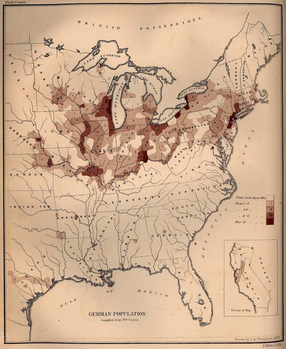 Deutsche Bevölkerung in USA 1872
