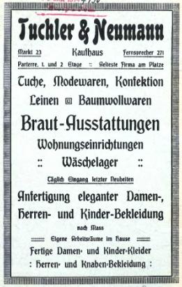 Werbung Kaufhaus Tuchler und Neumann Stolp