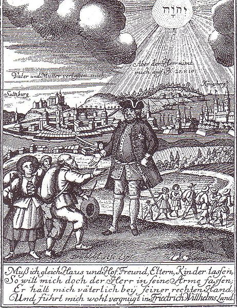 Empfang der Salzburger Exulanten (Quelle commons wikimedia, public domain)