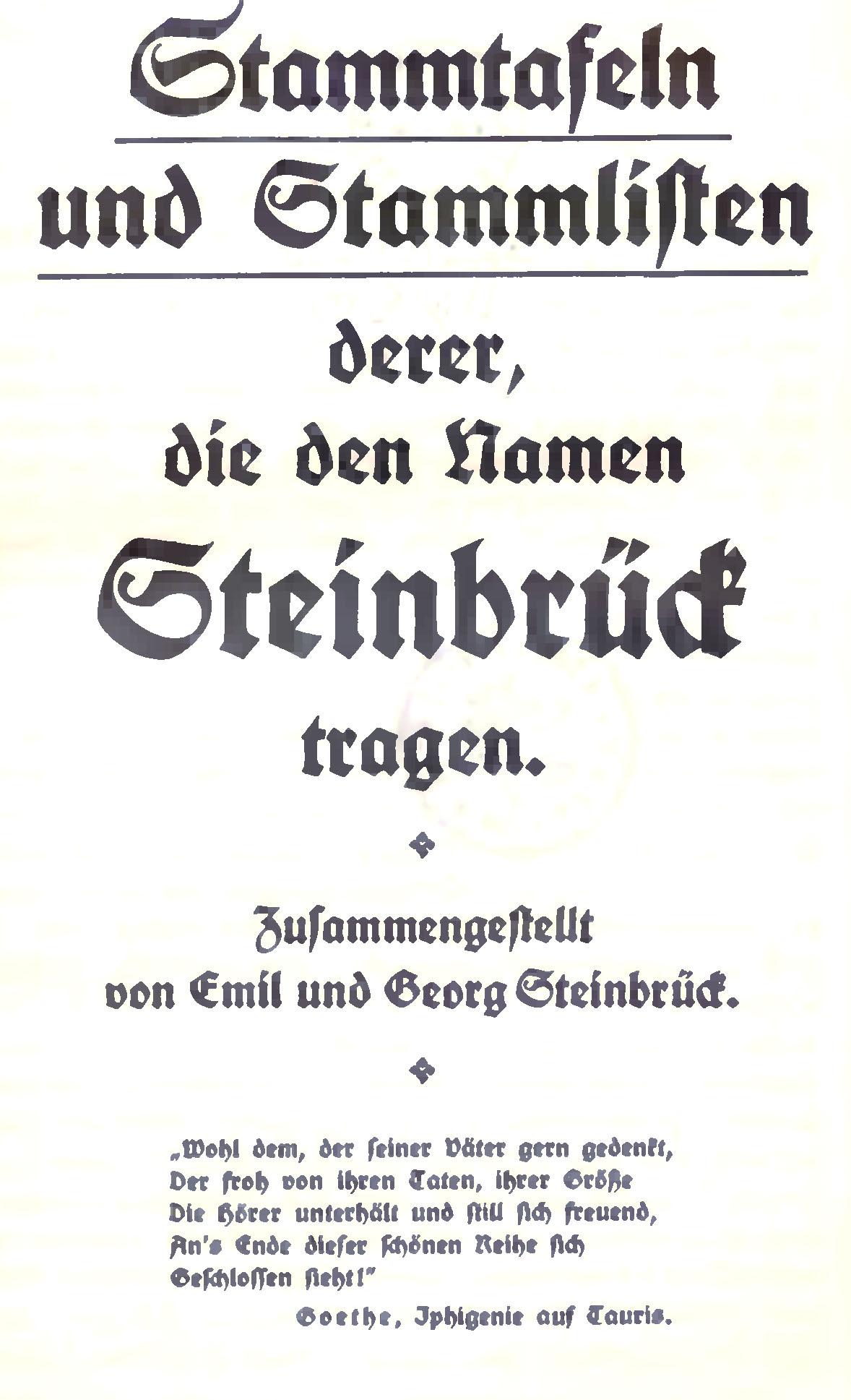 Titelblatt der Steinbrück'schen Familiengeschichte von 1912