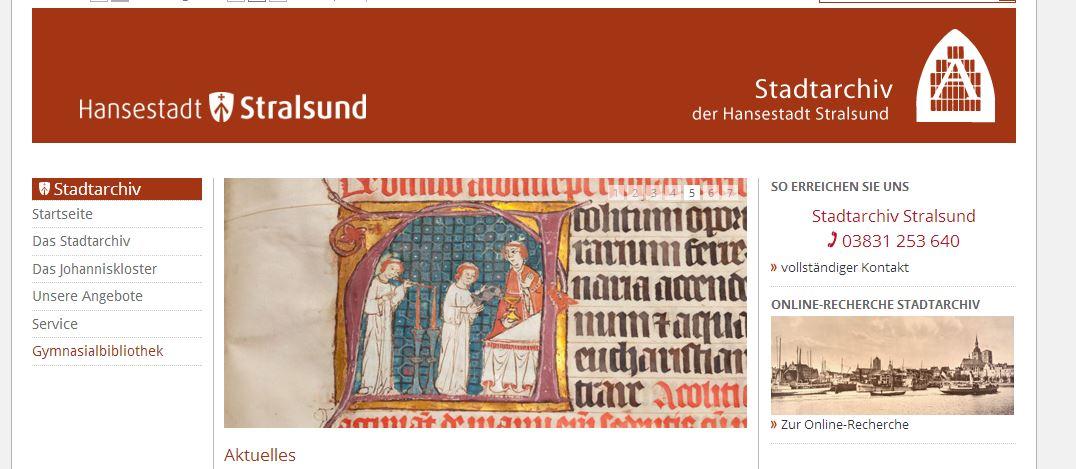 Stadtarchiv Stralsund - Eigene Internetseiten