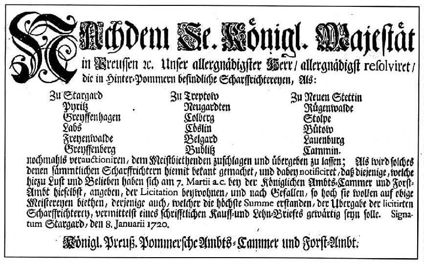 Auschreibung 1720