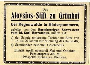 Anzeige für das Aloysius-Stift