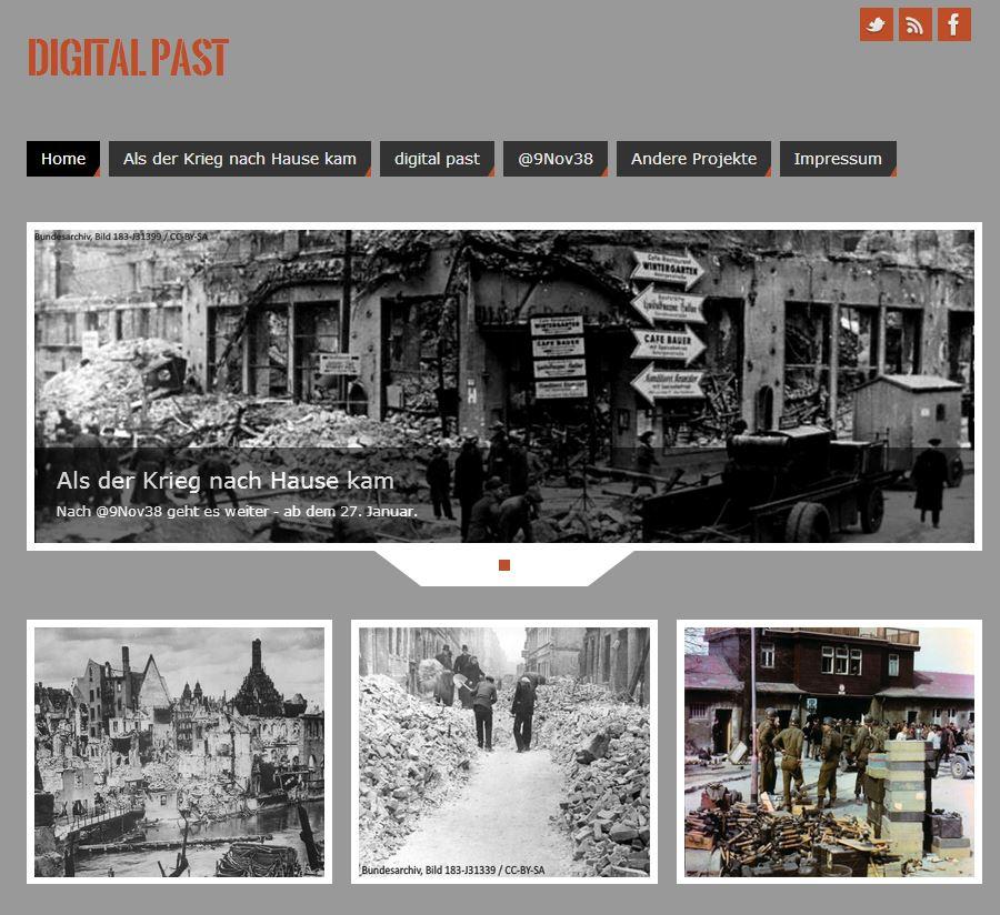 Screenshot der Webseite von digitalpast