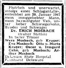 Todesanzeige Erich Mosbach