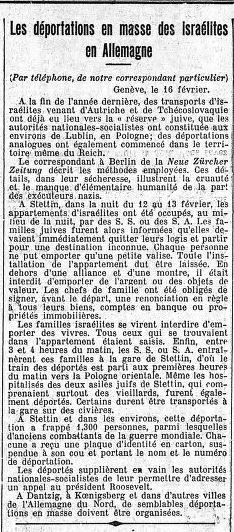 Le Temps, Paris vom 17.02.1940