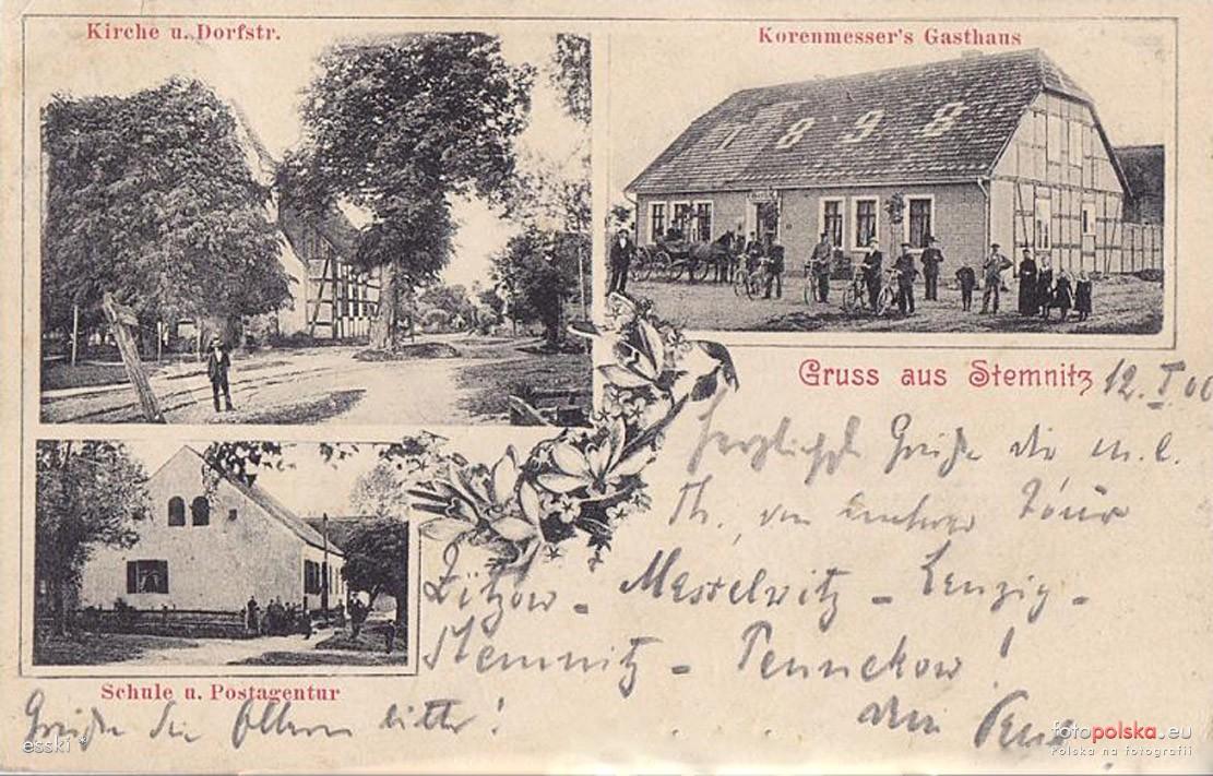 Stemnitz mit der Schule auf einer Ansichtskarte von 1900