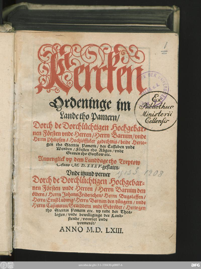 Deckblatt der Kercken Ordeninge im  Lande tho Pamern/