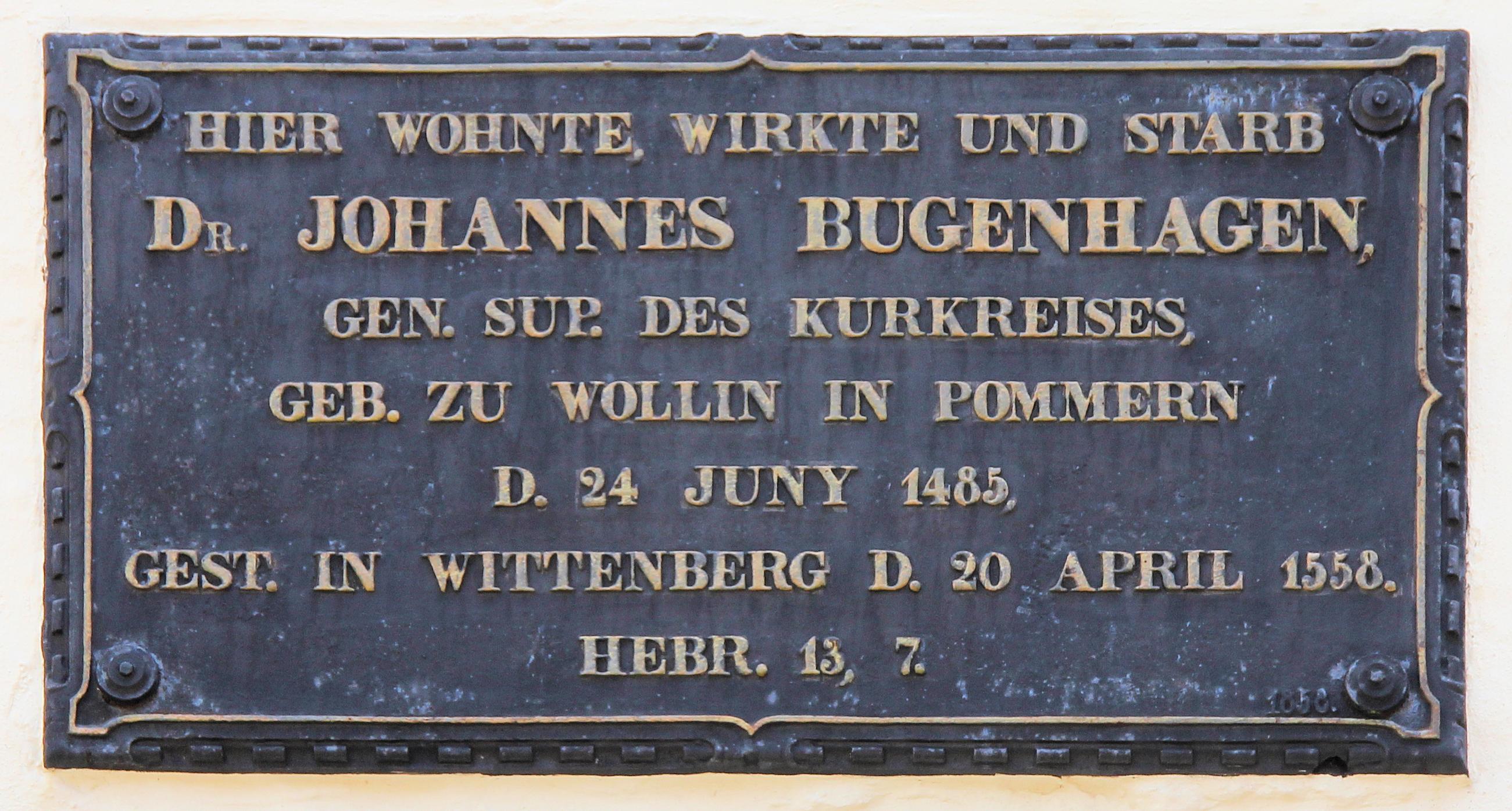 Gedenktafel, Johannes Bugenhagen,