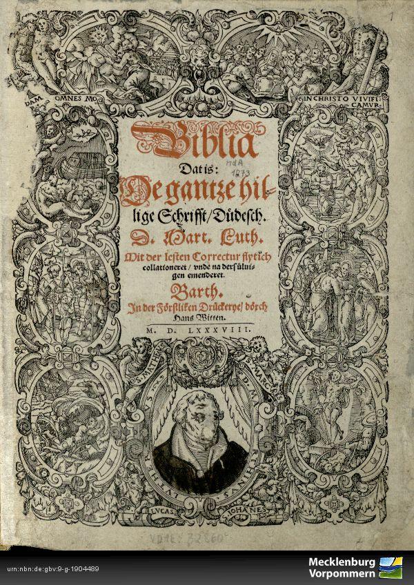 """Bibel von 1588 aus dem Barther Bibelzentrum in """"mittelniederdeutscher"""" Sprache"""