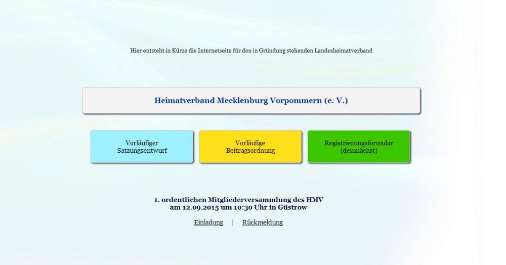 Screenshot von http://heimatverband-mv.de/