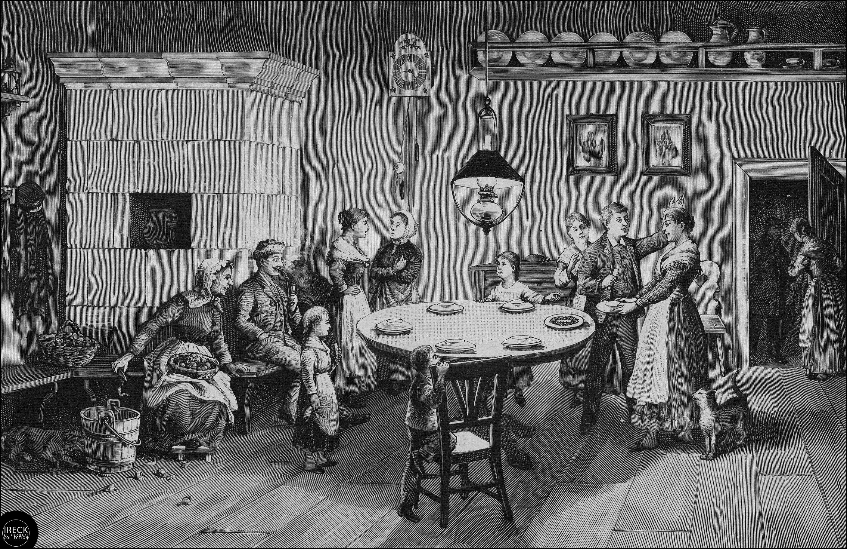 Sylvesterbräuche in Pommern: Das Tellerschieben. Pomorze, Pomerania 1890