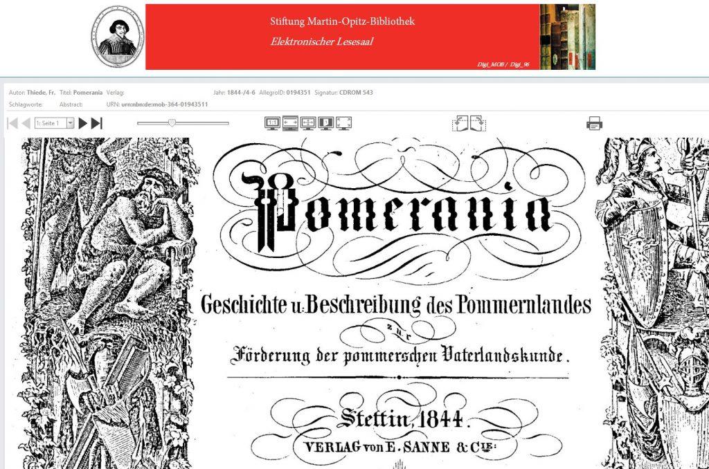 Beispiel von Literatur über Pommern im elektronischen Lesesaal