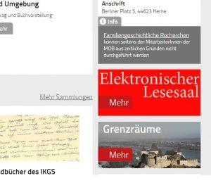 Der elektronische Lesesaal ist auf der Startseite direkt verlinkt