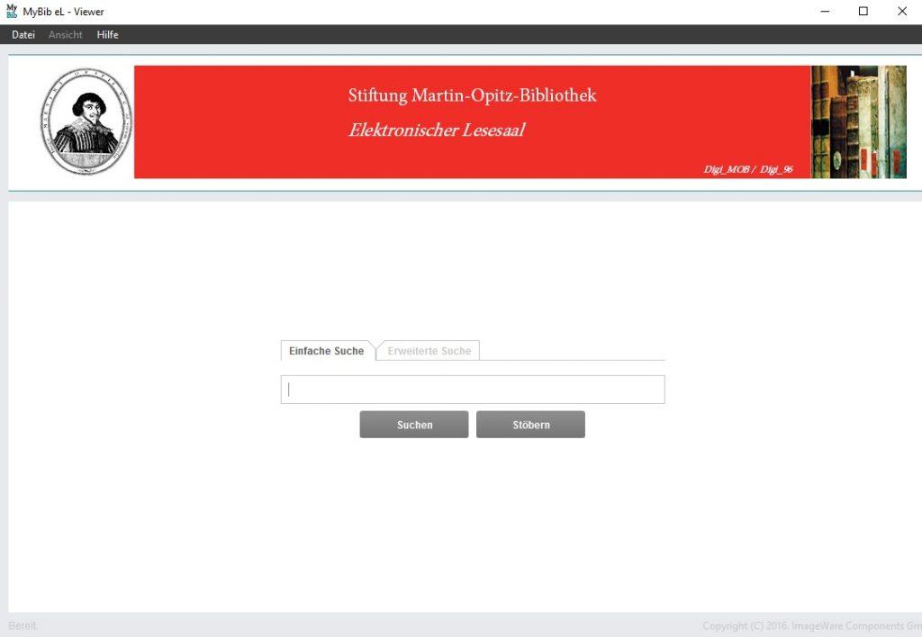 Startseite innerhalb des elektronischen Lesesaals