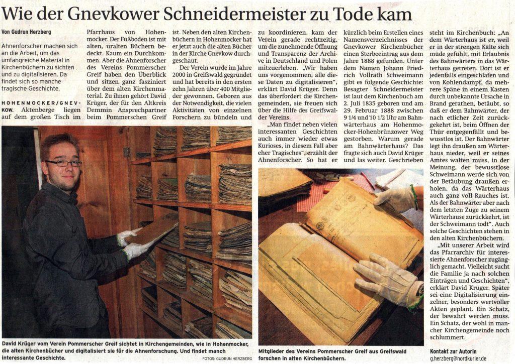 Wie der Gnevkower Schneidermeister zu Tode kam von Gudrun Herzberg / Nordkurier, Montag, 16.01.2017
