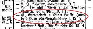Eintrag für Gustav Meyer im Adressbuch von Berlin 1877, Digitalisat der Zentral- und Landesbibliothek Berlin