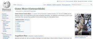 Wikipedia über Gustav Meyer, Sreenshot bearbeitet