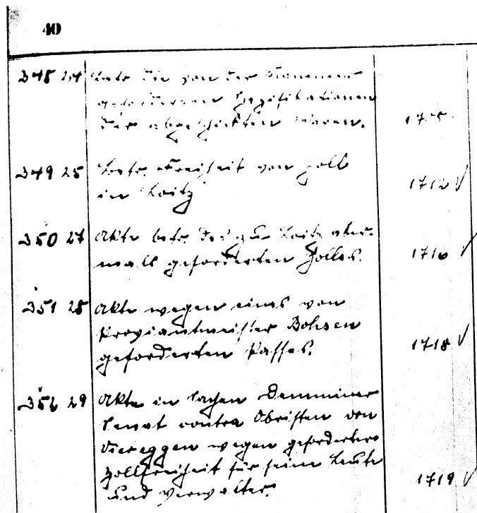 Beispielseite aus einem handschriftlichen Findbuch