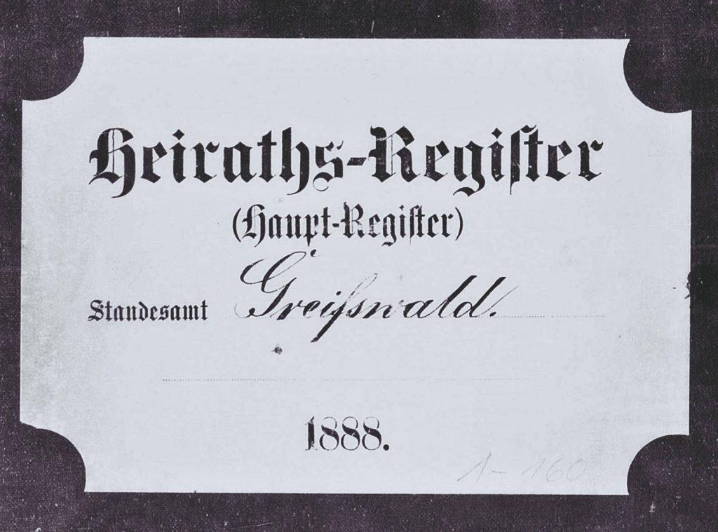 Heiratsregister Greifswald