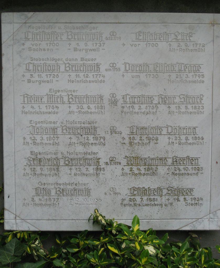 Grabstein von Otto Bruchwitz in Rothemühl