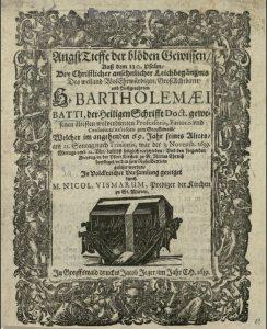 Leichenpredigt für Bartholomäus Battus 1639