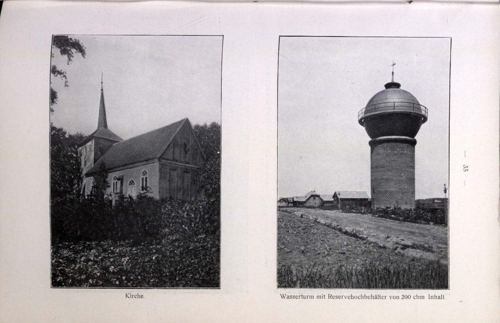 Kirche und Wasserturm in Rützow